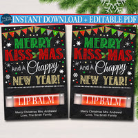 Christmas Lip Balm Card, Merry Christmas & Chappy New Year Staff Secret Santa, White Elephant Chapstick Gift Tag, Printable INSTANT DOWNLOAD