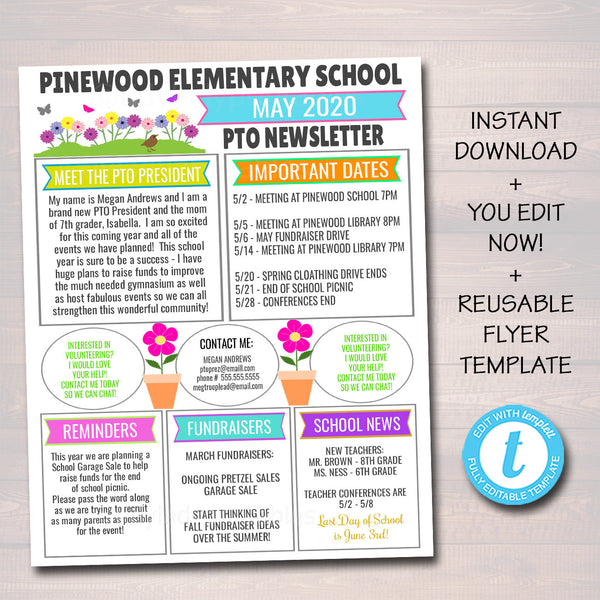 May PTO PTA Newsletter Flyer, Classroom Printable Handout, School Year Calendar, Floral Meeting Agenda Spring Organizer EDITABLE Template
