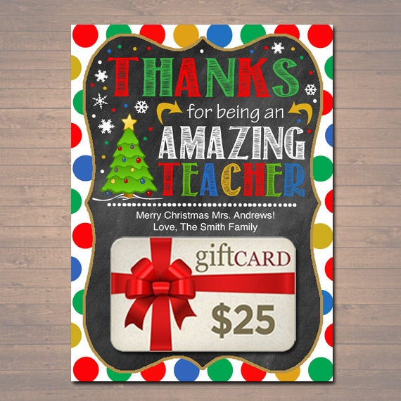 Christmas Gift Card Holder Printable, Thanks for Being an Amazing Teacher, Holiday School Pto pta Appreciation, Editable INSTANT DOWNLOAD
