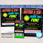 Laser Tag Event Flyer, Mother Son Date Night, Glow Dance, Family Activity Night Ticket, Church School pto pta, INSTANT DOWNLOAD, Editable