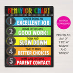 Behavior Chart Classroom Decor, Classroom Policies Poster Classroom Rules Poster, Classroom Management Printable Teacher, INSTANT DOWNLOAD