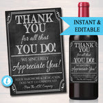 Appreciation Wine Label, Thank you Gift Coworker, Employee Staff Teacher Company Client Realtor, Printable Wine Gift Tag, INSTANT DOWNLOAD