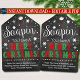Christmas Gift Tag, Soapin' You Have a Merry Christmas, Holiday Soap Gift Tag, Secret Santa, Hands Down Xmas Staff Teacher INSTANT DOWNLOAD