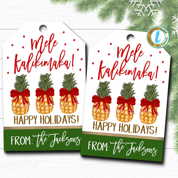 Christmas Pineapple Gift Tags, Holiday Mele Kalikimaka Tropical Xmas Fruit Gift Tag, Secret Santa Teacher Staff Label, DIY Editable Template