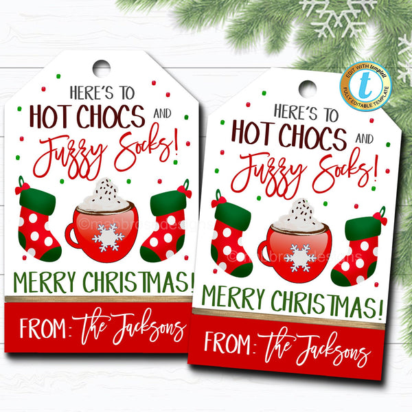 Christmas Gift Tags, Hot Chocs and Fuzzy Socks, Teacher Staff Employee Holiday Gift, Xmas Sock Tag Editable Template, Self-Editing Download
