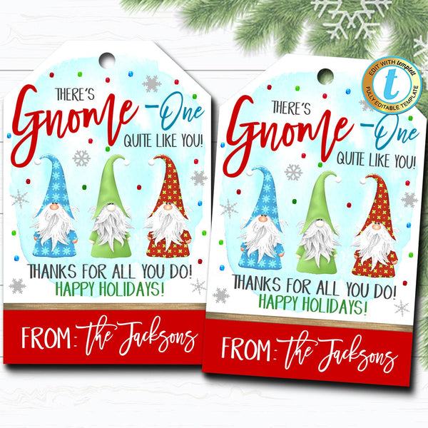 Christmas Gift Tags, Holiday Gnome Elf Holiday Appreciation Staff Employee Teacher, School Pto Pta Cute Funny Xmas Tag DIY Editable Template