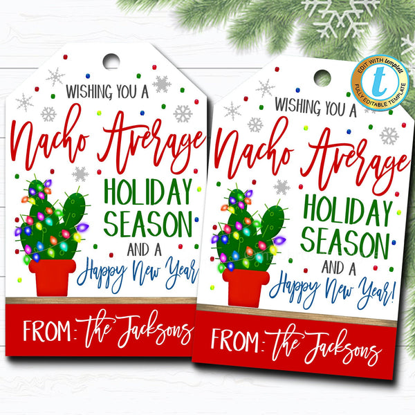 Christmas Gift Tags, Nacho Average Holiday, Fiesta Feliz Navidad Gift Label, Secret Santa Teacher Staff Salsa Xmas Tag DIY Editable Template