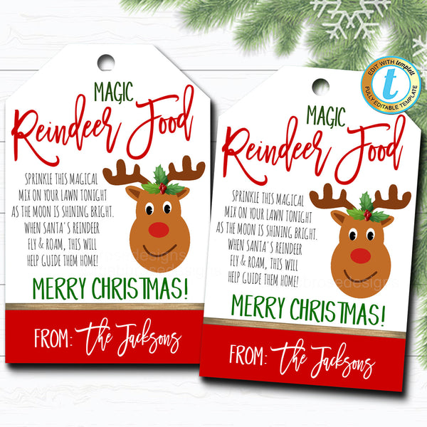 Christmas Gift Tags, Magic Reindeer Food, Teacher Classroom Party, Kid's Holiday Gift Hang Tag, Xmas Treat Label, DIY Editable Template