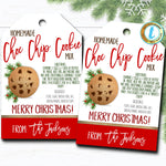 Christmas Gift Tags, Cookie Jar Mix, Cookie Recipe Tag Holiday Teacher Staff Secret Santa Gift Xmas Bakery Treat Label DIY Editable Template