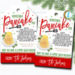 Christmas Gift Tags, Pancake Mix Recipe Tag, Holiday Teacher Staff Secret Santa Gift Xmas Hostess Brunch Treat Label DIY Editable Template