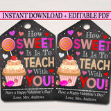 Valentines Day Teacher Coworker Favor Tags, School Appreciation Labels Printable INSTANT + EDITABLE, Valentine Candy Cookie Treat Gift Tag