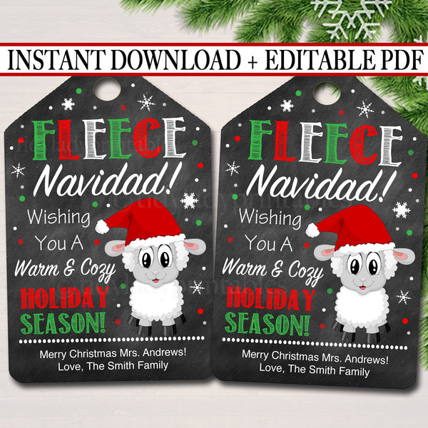 EDITABLE Fleece Navidad Christmas Gift Tags, Secret Santa, Office Staff Teacher Gift Holiday Printable, White Elephant, INSTANT DOWNLOAD