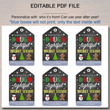 Christmas Gift Tags, Hope Your Holiday is Dough-lightful, Printable Classroom Stocking Stuffer, Non Candy Xmas Treat Label, INSTANT DOWNLOAD