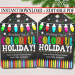 Christmas Gift Tags, Colorful Holiday, Printable Teacher Classroom Crayon Stocking Stuffer, Non Candy Xmas Treat Label, INSTANT DOWNLOAD
