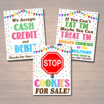 PRINTABLE Cookie Booth Sign Set, Accept Payments, Fundraising Booth, Stop Cookies, Donate Troops, Cookie Banner, Cookie Drop Booth Poster