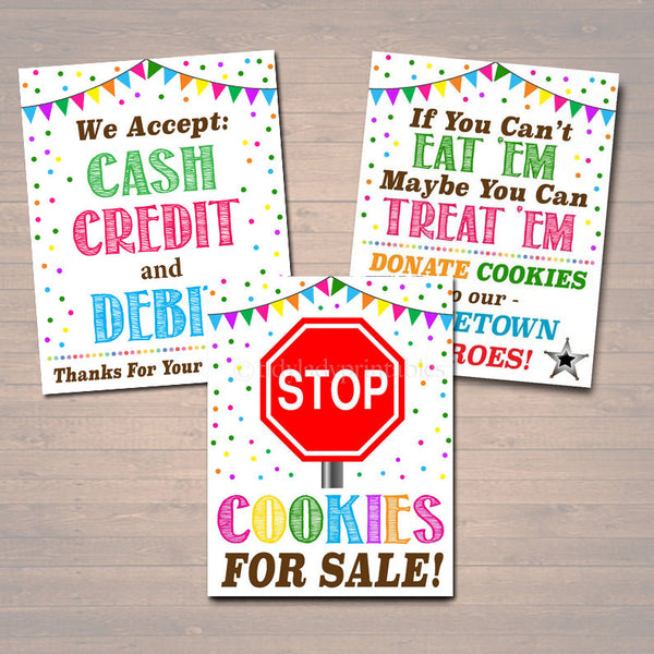 PRINTABLE Cookie Booth Sign Set, Accept Payments, Fundraising Booth Stop Cookies, Donate Police Hero Cookie Banner, Cookie Drop Booth Poster