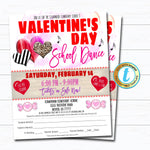 Valentine's Day School Dance Flyer and  Invitation, School Church Pto Pta Flyer, Winter Party Editable Template, Valentine DIY Self-Editing