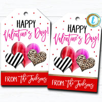 Valentine Gift Tags, Happy Valentine's Day Candy Chocolate Cookie Treat Gift Label, Modern Valentine Leopard Heart, DIY Editable Template