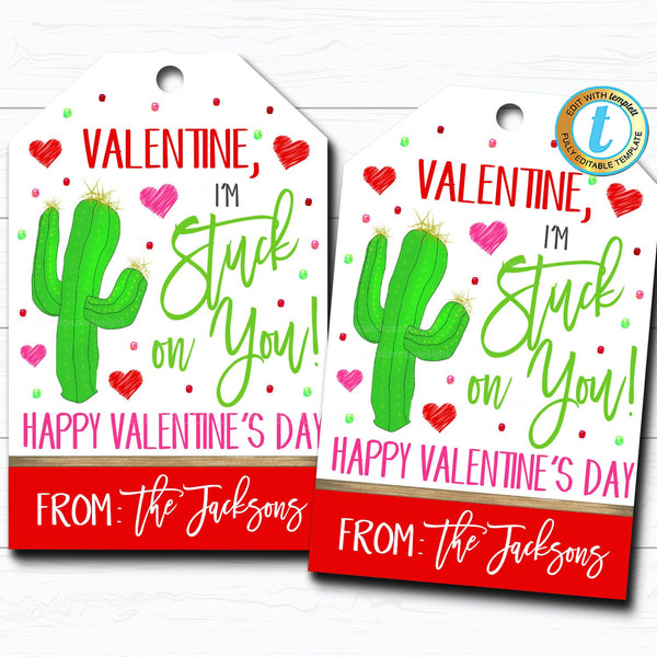 Valentine Cactus Gift Tags, I'm stuck on you Valentine Fiesta Tag, Gift Classroom School Teacher Staff Valentine Tag, DIY Editable Template
