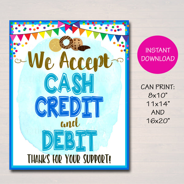 We Accept Payments Sign Cash, Credit Debit, Fundraising Booth, Bake Sale, Cookie Booth Printable Scouts Cookie Banner, Cookie Booth Poster