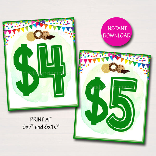 Cookie Price Signs, Cookies 4 dollars 5 dollars signs Banner, Cookie Booth Poster, Cookie Sale, INSTANT DOWNLOAD Fundraiser Booth Display