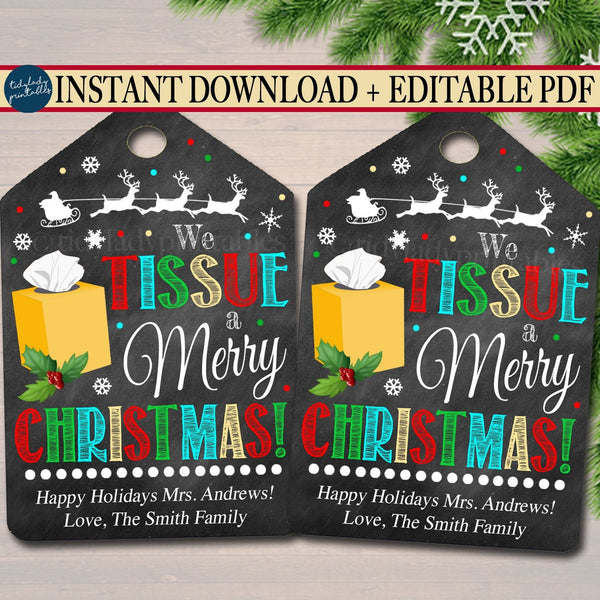 Christmas Gift Tags, We Tissue a Merry Christmas Secret Santa, Office Staff Teacher Gift Holiday Printable, White Elephant INSTANT DOWNLOAD