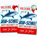 Shark Valentines, You're Jaw-some Shark Boy Valentine Card, Gift Classroom Party School Teacher Staff Valentine Tag, DIY Editable Template