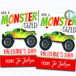 Monster Truck Valentines, Boy Truck Valentine Card Gift Classroom Party School, Teacher Staff Valentine Tag, DIY Printable Editable Template