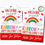 Valentine Rainbow Gift Tags, I'm Over the Rainbow For You Valentine Tag, Gift Classroom School Teacher Staff Valentine DIY Editable Template