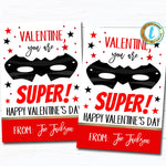Superhero Valentines, Boy Ninja Valentine Card Gift Classroom Party School, Teacher Staff Valentine Tag, DIY Printable Editable Template