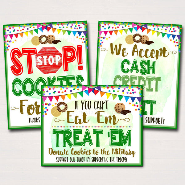Cookie Booth Sign Set, Donate Cookies to Troops Military Stop Cookies, Accept Cash Credit Card Printable Cookie Drop Banner INSTANT DOWNLOAD