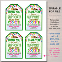 COOKIE Thank You Tags, Scout Cookie Thank You Note, Booth Sales INSTANT DOWNLOAD Printable Marketing Tags, Fundraiser Thank You Cards