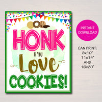 Honk if You Love Cookies, Fundraising Booth, Bake Sale, Cookie Booth Printable Scouts Cookie Banner, Cookie Booth Poster, INSTANT DOWNLOAD