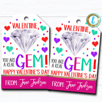 Valentine Gem Tags, You are Gem, Girl Friend Valentine Jewelry Tag, Gift Kid Classroom School Teacher Staff Valentine, DIY Editable Template