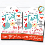 Valentines Gift Tags, You're So Tweet, Bird Appreciation Teacher Valentine, Candy Chocolate Cookie Treat Gift Label, DIY Editable Template