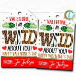 Valentine Gift Tags, Wild About You Jungle Valentine Day Tag, Kid Classroom Friend, School Teacher Valentine Printable DIY Editable Template