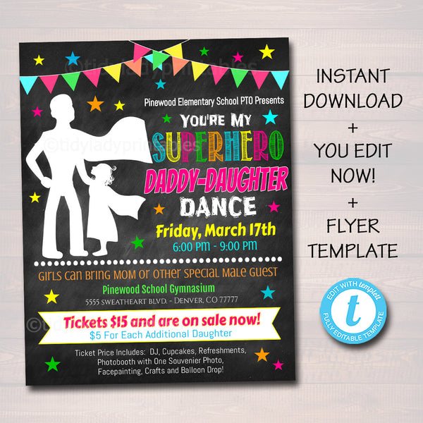 Daddy Daughter Superhero School Dance Printable Flyer, INSTANT DOWNLOAD, Pto Pta Invitation, Church Fundraiser Event, Editable Template