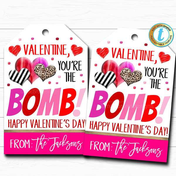 Set of 12 tags ribbon /& favor bag are NOT included Valentine Tags Valentine tags Candy School Valentine Tags Youre the bomb Valentine