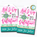 Valentine VSCO Girl Gift Tags, And I Oop Sea Turtle Watercolor Valentine Classroom School Favor Gift, Valentine Label DIY Editable Template