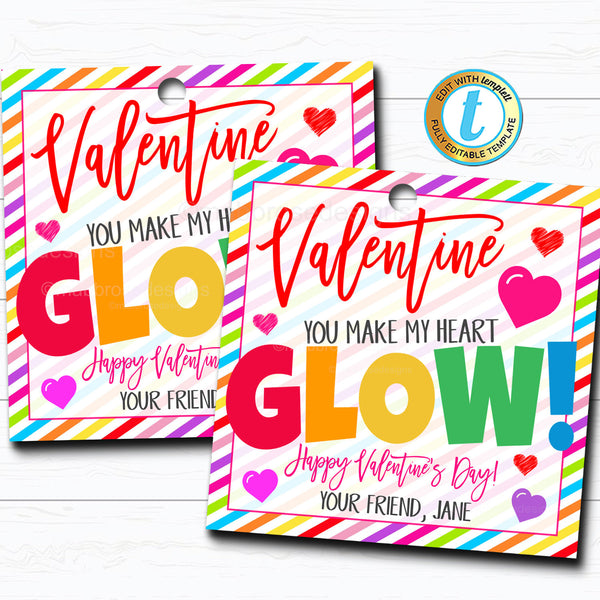 Valentine Gift Tags, You Make My Heart Glow, Valentine Glowstick Tag, Gift Classroom School Teacher Staff Valentine DIY Editable Template
