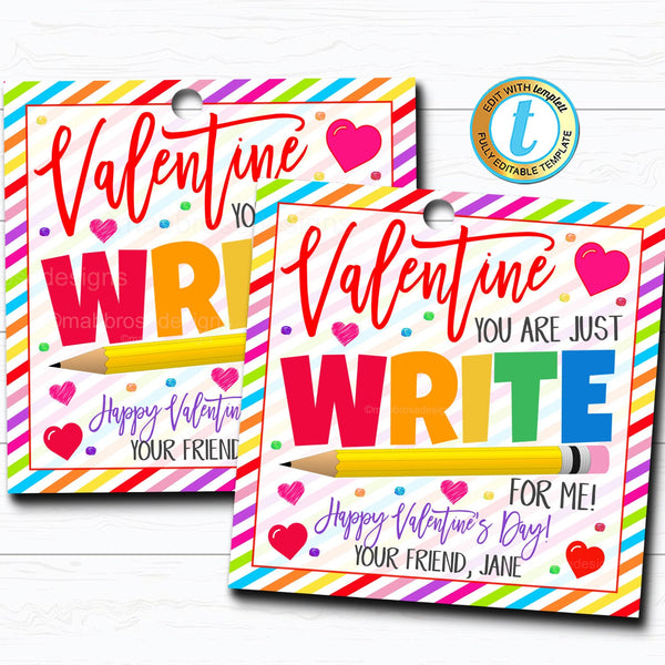 Pencil Valentine's Gift Tag | TidyLady Printables