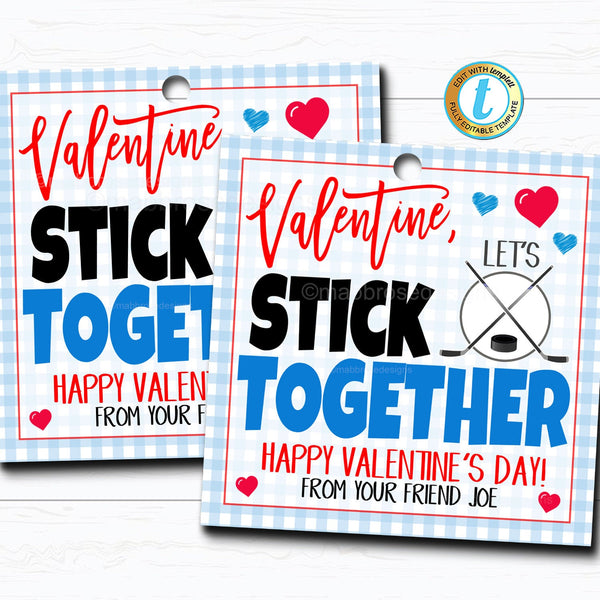 Ice Hockey Valentines Boy Sports Ball Valentine Card Gift Classroom Party School Teacher Staff Valentine Tag DIY Printable Editable Template