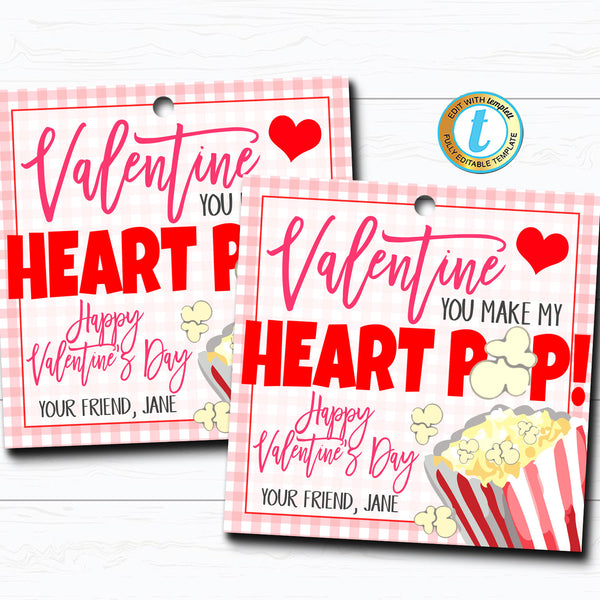 Valentine Popcorn Tags, You make my heart Pop Valentine Gift Tag, Gift Classroom School Teacher Staff Valentine Label DIY Editable Template
