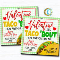 Valentine Gift Tags, Nacho Average Valentine Fiesta, Taco bout Awesome Gift Chip Label School Teacher Staff Valentine, DIY Editable Template