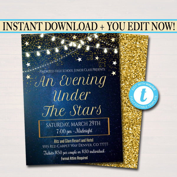 EDITABLE Prom Dance Invitation. Starry Night, Gold Glitter An Evening Under The Stars High School Dance Event, Pto, Pta INSTANT DOWNLOAD