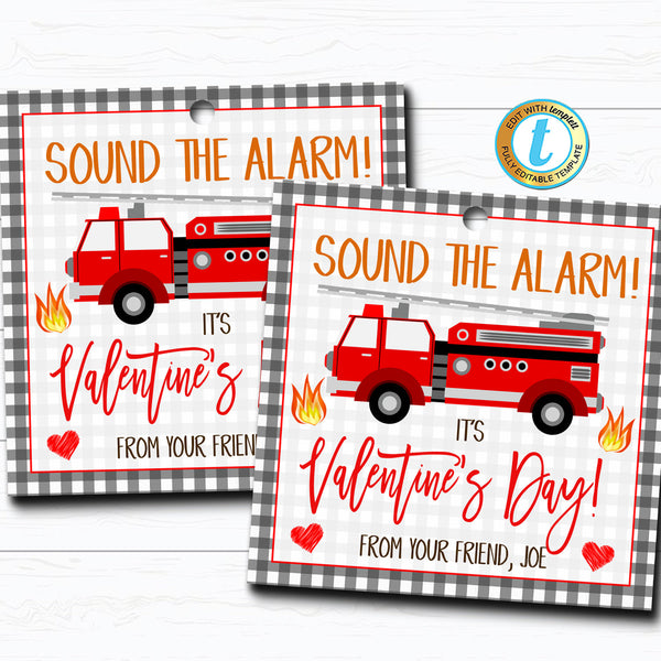 Firetruck Valentines, Boy Fire Truck Valentine Card Gift Classroom Party School, Teacher Staff Valentine Tag DIY Printable Editable Template