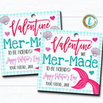Mermaid Valentines, We Mer-made to be Friends Girl Valentine Card, Gift Classroom Party School Teacher Valentine Tag, DIY Editable Template