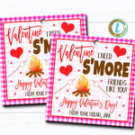 Valentines S'mores Gift Tag, Valentine Friend Gift Teacher Staff Employee Bakery Cookie Thank You Tag School Pto Pta DIY Editable Template