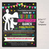 Daddy Daughter Superhero School Dance Set, Printable Flyer Invite Ticket, INSTANT DOWNLOAD, Pto Pta, Church Fundraiser, Editable Template
