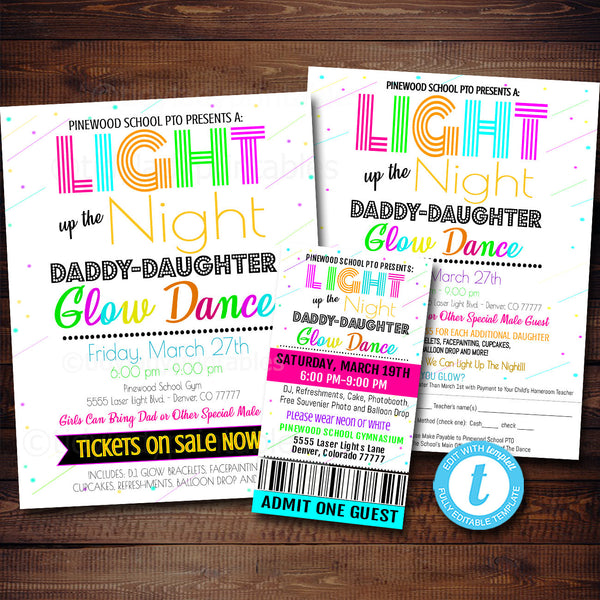 EDITABLE Glow Dance Set, Printable School Dance Flyer Party Invite, Church Community Event, Daddy Daughter Dance, pto pta, INSTANT DOWNLOAD